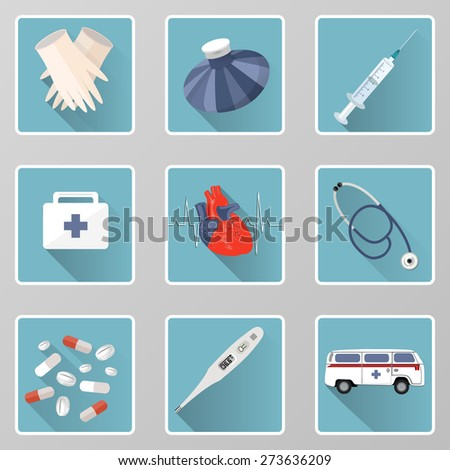set of medical icons can be used for websites or other types of design - stock vector