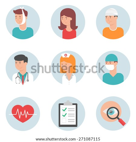 Set of medical icons, flat style - stock vector