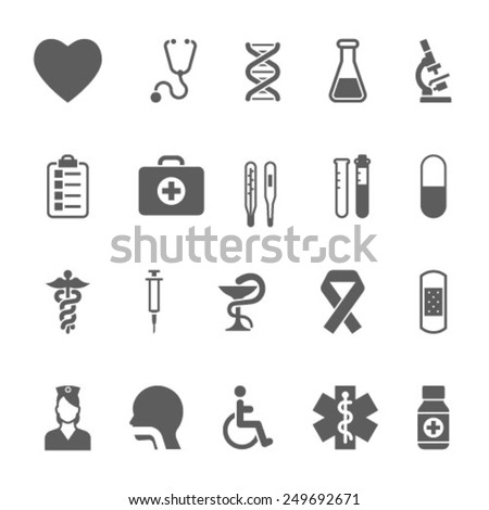 Set of medical icons including an pills tablets dentistry injection syringe hypodermic first aid kit plaster caduceus test tubes test kit - stock vector