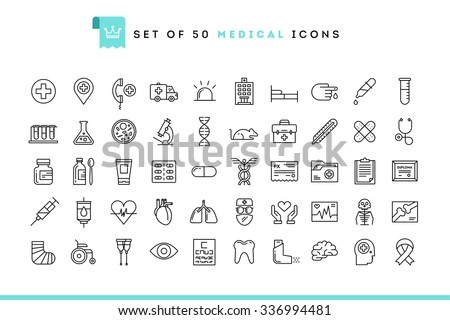 Set of 50 medical icons, thin line style, vector illustration  - stock vector