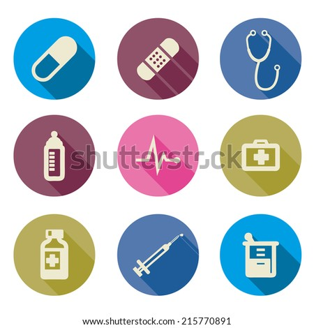 set of medical icons -Vector illustration flat - stock vector