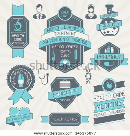 Set of medical labels and tags. - stock vector