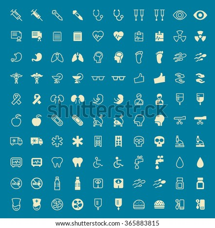Set of 100 Medical Minimal and Solid Icons. Vector Isolated Elements. - stock vector