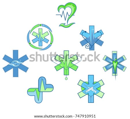 Set Medical Symbols Hospital Doctor Heartbeat Stock Vector 747910951
