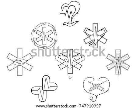 Set Medical Symbols Hospital Doctor Heartbeat Stock Vector Royalty