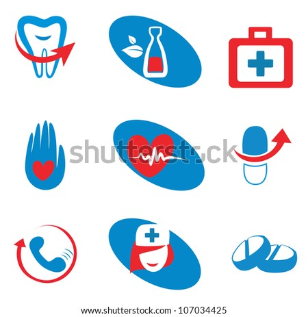 set of medicine icons, isolated vector symbols - stock vector
