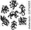 Set of medieval dragon symbols - stock photo
