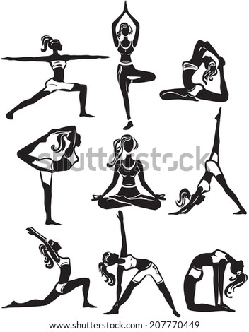 Set of meditating and doing yoga poses - stock vector
