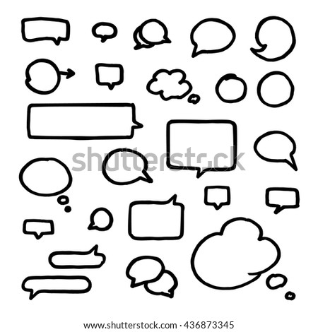 Set of medium bold black hand-drawn talking bubbles isolated on white background. Communication, speech and thoughts vector signs collection - stock vector