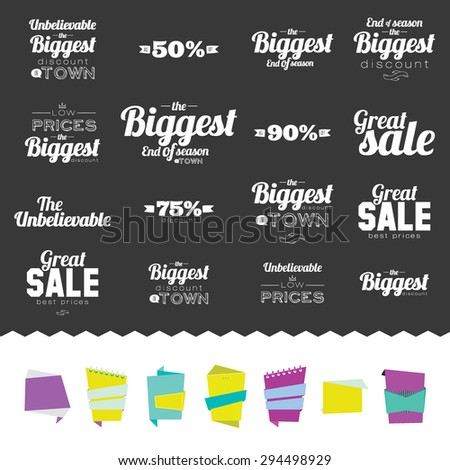 Set of Mega Sale Flyer, Poster or Banner Design with Best Discount Offers. Stylish typographic poster style. Vector template for your print design. Great discount with low prices. End of season. - stock vector