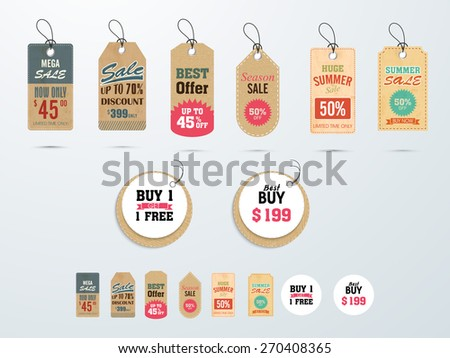 Set of Mega Sale tags or labels design with best discount offers. - stock vector