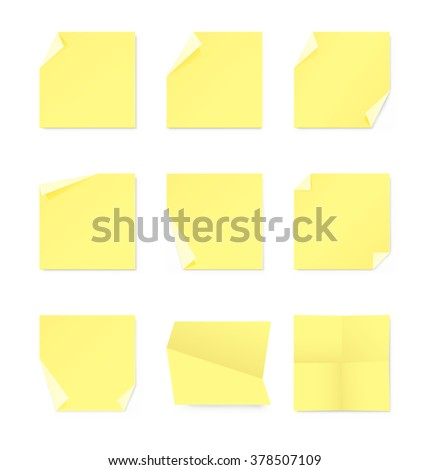 Set of memory notes on white background. Vector illustration