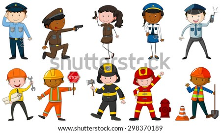 Set of men and woman in different job costumes on white background - stock vector