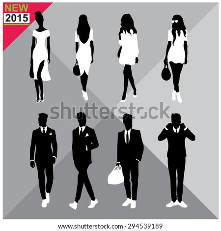 Set of men and women black silhouettes collection,editable - stock vector