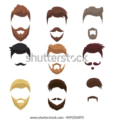 Set of men cartoon hairstyles with beards and mustache. Collection of fashionable stylish hairstyles and beards. Vector illustration with isolated hipsters hairstyles on a white background. - stock vector