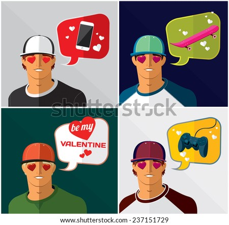 set of men in baseball cap with thought bubbles