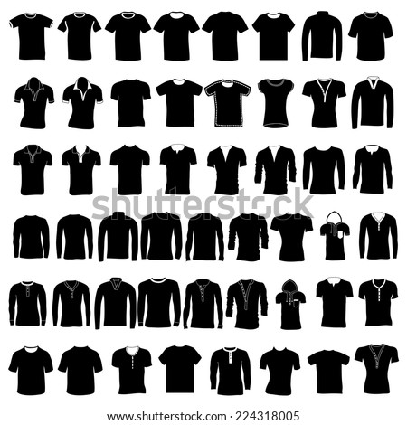 Set of men's and women's cardigans and wear. Hand drawing. Front. Different colors, vector illustration. - stock vector