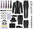 Set of men's clothing and accessories - stock vector