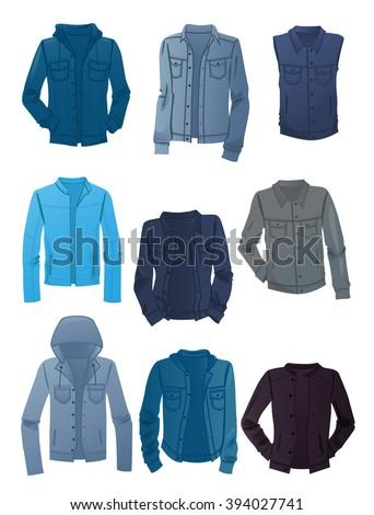 Set of men's denim jackets isolated on white background - stock vector