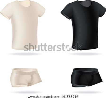 Set  of men's underwear items. T-shirts and panties made in two color versions. Editable vector illustration. - stock vector