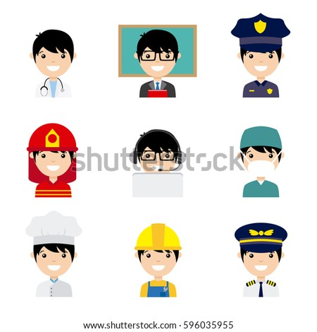 Set of men workers in uniform style icons with flat faces. Avatar professions