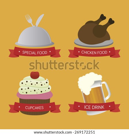 Set of menu icons with text on a yellow background. Vector illustration - stock vector