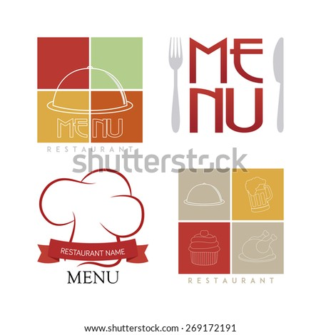 Set of menu labels with icons and text. Vector illustration - stock vector