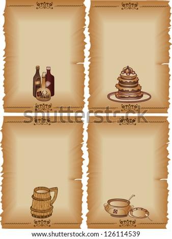 Set of menu template design, retro style - stock vector