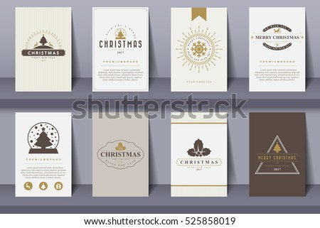 Set of   Merry Christmas and Happy New Year  brochures in vintage style .Vector eps10