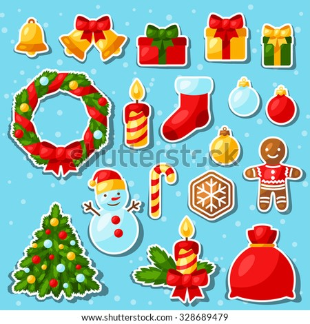 Set of Merry Christmas and Happy New Year sticker icons.