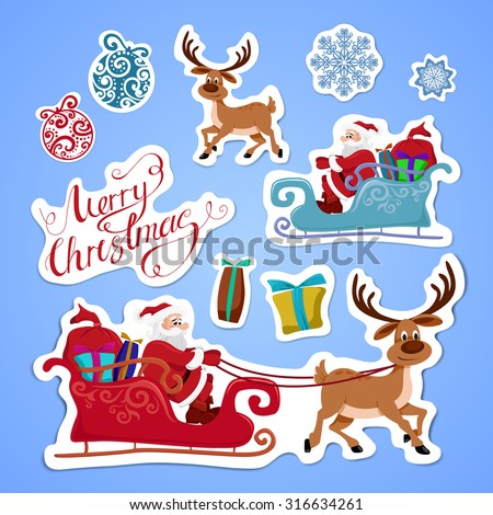 Set of Merry Christmas and Happy New Year stickers or magnets. Festive souvenirs - stock vector