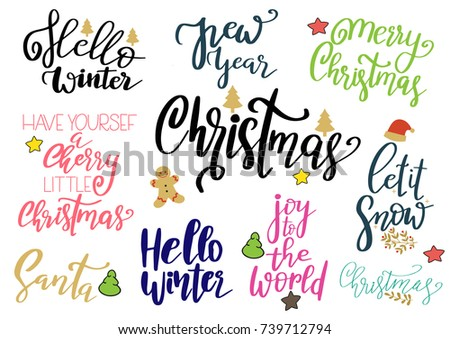 Set Merry Christmas Happy New Year Stock Vector 739712794 - Shutterstock