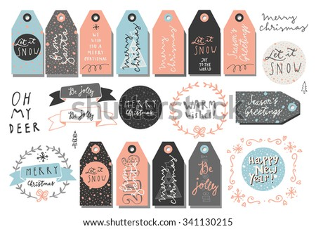 Set of Merry Christmas and New Year vintage hand drawn design elements in pastel colors. Tags, ribbons, wreaths. Modern calligraphy. Vector - stock vector
