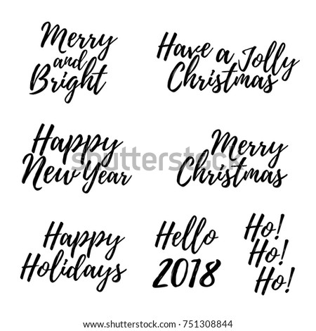 Set merry christmas card calligraphy text stock photo photo vector set of merry christmas card with calligraphy text template for greetings congratulations housewarming m4hsunfo