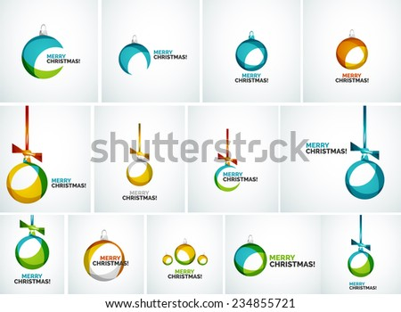 Set of Merry Christmas modern cards - abstract baubles made of wave shapes - stock vector