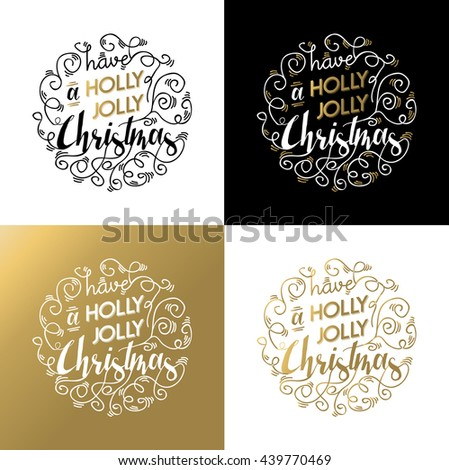 Set of merry christmas ornament lettering quotes in gold colors. Happy xmas wish backgrounds for greeting cards, poster, invitation, etc. EPS10 vector. - stock vector