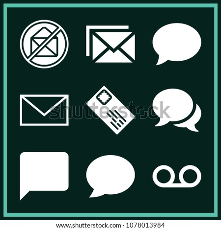 set 9 message filled icons such stock vector royalty free