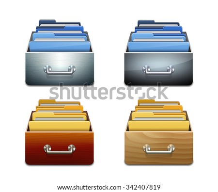 Set of metal and wooden filling cabinets with document folders. Illustrated concept of database organizing and maintaining. Vector illustration isolated on white background - stock vector