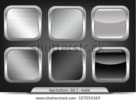 Set of metal app buttons - stock vector