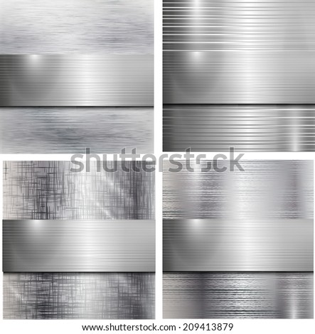 Set of metal background. Vector illustration.  - stock vector