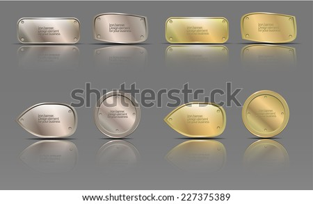 set of metal banners - stock vector