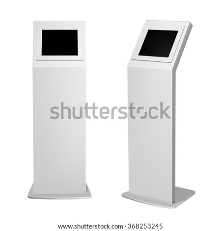 Set of metal display advertising vertical white for indoor and outdoor use. - stock vector