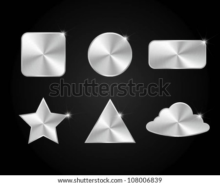 set of metal icon - stock vector
