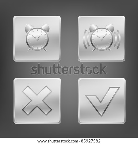 Set of metal icons with clock alarm and other sign. Vector illustration. - stock vector
