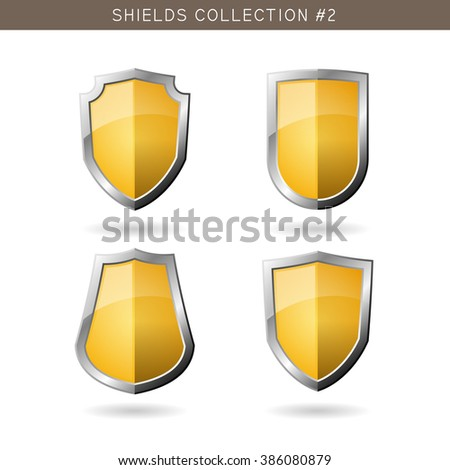 Set of metal orange medieval shields template on white background. Security symbols. Vector illustration - stock vector
