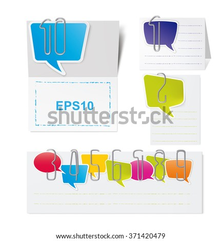 Set of metal paper clips and Colored paper speech bubbles. Vector illustration - stock vector