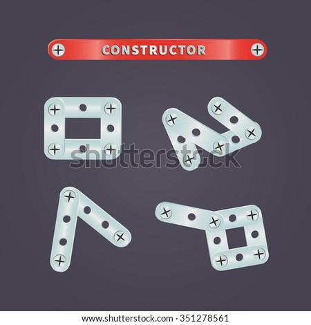 Set of metal parts constructor for children's games - stock vector
