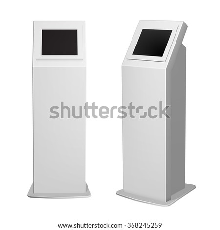 Set of metal payment terminal stand, ATM or display advertising, vertical white for indoor and outdoor use. - stock vector