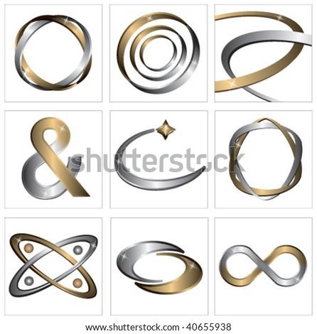 Set of metal symbols - stock vector