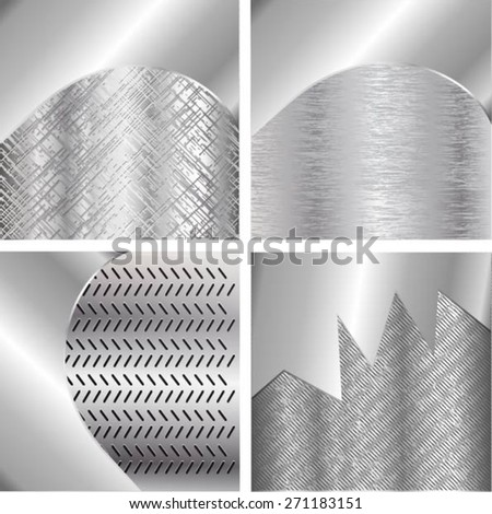 Set of metal texture with grid background. template design. Vector illustration - stock vector